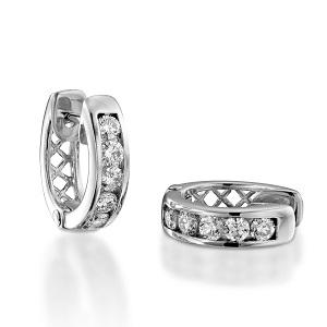 עגילי יהלומים חישוק האגי דגם טריקסי