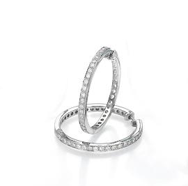 עגילי יהלומים חישוק ג'יפסי 0.66 קרט