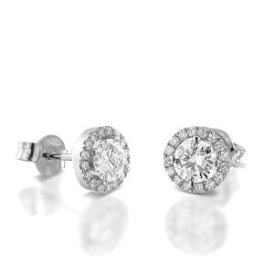עגילי יהלומים דגם שמש