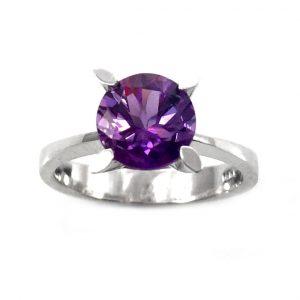 טבעת אמטיסט סוליטר דגם דורותי