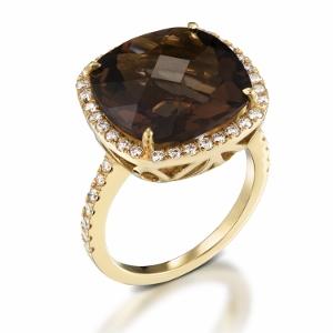 טבעת סמוקי טופז ויהלומים דגם שרה זהב צהוב
