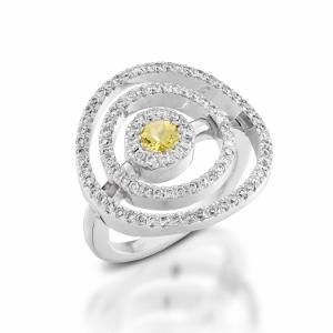 טבעת ספיר צהוב ויהלומים דגם מעגלים באוויר