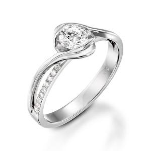 טבעת יהלומים לאירוסין זהב לבן דגם אדליין