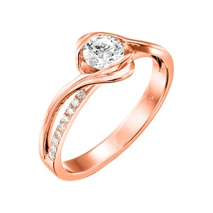 טבעת יהלומים לאירוסין זהב ורוד דגם אדליין
