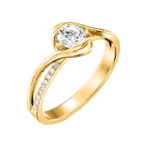 טבעת יהלומים לאירוסין זהב צהוב דגם אדליין