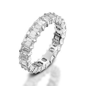 טבעת יהלומים נצחית טניס בחיתוך אמרלד דגם תשוקה 4.60 קרט