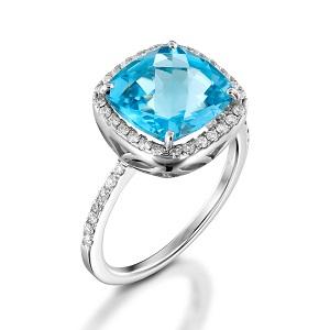 טבעת בלו טופז ויהלומים דגם שרה