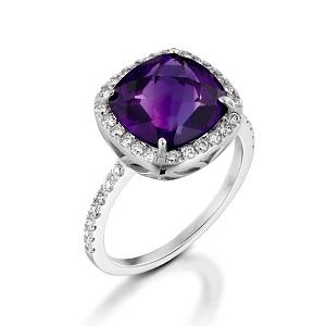 טבעת אמטיסט ויהלומים דגם שרה