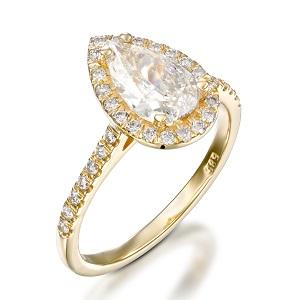 טבעת יהלום טיפה ויהלומים דגם פריז