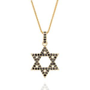 תליון יהלומים שחורים מגן דוד
