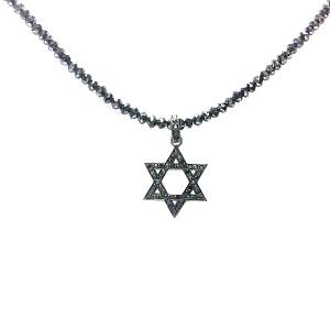 תליון יהלומים שחורים מגן דוד מושחר