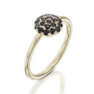 טבעת יהלומים שחורים בזהב צהוב דגם Berry