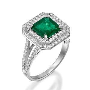 טבעת אמרלד ויהלומים דגם אמילי