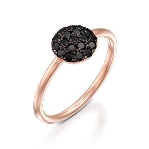 טבעת יהלומים שחורים זהב ורוד Berry בטופ שחור