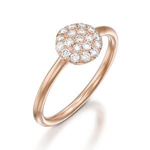 טבעת יהלומים לבנים בזהב ורוד דגם Berry