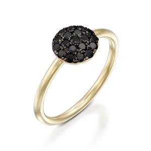 טבעת יהלומים שחורים זהב צהוב Berry בטופ שחור