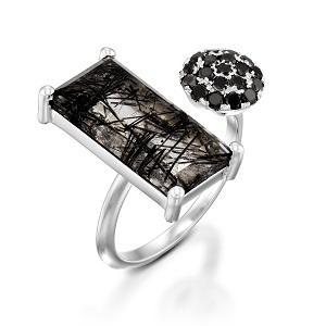 טבעת פתוחה קוורץ טורמלינד ויהלומים שחורים דגם לורלין
