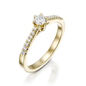 טבעת יהלומים לאירוסין זהב צהוב דגם סטפני