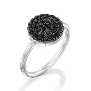 טבעת יהלומים שחורים דגם Berry W בטופ שחור