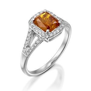 טבעת יהלומים פנסי כתום ולבנים דגם ג'ינג'ר