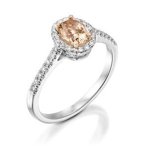 טבעת יהלומים פנסי ורדרד ולבנים דגם פרנצ'סקה