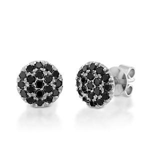 עגילי יהלומים שחורים זהב לבן דגם BERRY