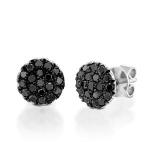 עגילי יהלומים שחורים זהב לבן דגם BERRY טופ שחור