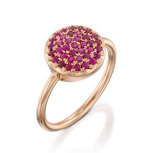 טבעת רובי דגם Berry W - זהב ורוד