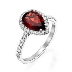 טבעת גרנט אדום ויהלומים דגם רות