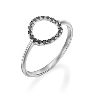 טבעת יהלומים שחורים מעגל קארמה