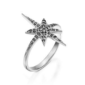 טבעת יהלומים שחורים בדגם כוכב הצפון