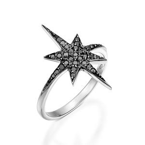 טבעת יהלומים שחורים זהב לבן דגם כוכב הצפון טופ שחור