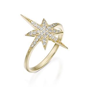 טבעת יהלומים דגם כוכב הצפון - זהב צהוב