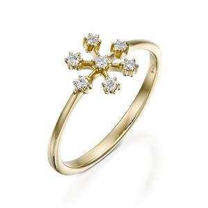 טבעת יהלומים פתית שלג