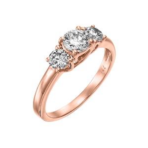 טבעת 3 יהלומים זהב ורוד דגם טרייסי 1.00 קרט