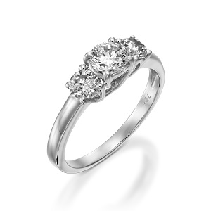 טבעת 3 יהלומים זהב לבן דגם טרייסי 1.00 קרט