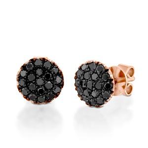 עגילי יהלומים שחורים זהב ורוד דגם BERRY טופ שחור