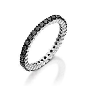 טבעת יהלומים שחורים נצחית טניס - דגם נרה