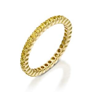 טבעת יהלומים צהובים נצחית טניס - דגם ג'אלה