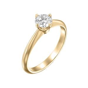 טבעת יהלום סוליטר זהב צהוב דגם קורה