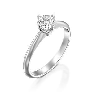 טבעת יהלום סוליטר זהב לבן דגם קורה