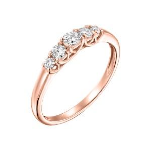 טבעת 5 יהלומים זהב ורוד דגם לוצ'יה