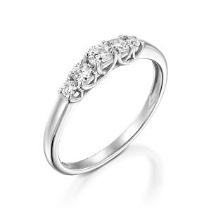 טבעת 5 יהלומים זהב לבן דגם לוצ'יה