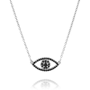 תליון יהלומים שחורים דגם עין