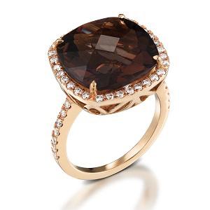 טבעת סמוקי טופז ויהלומים דגם שרה זהב ורוד