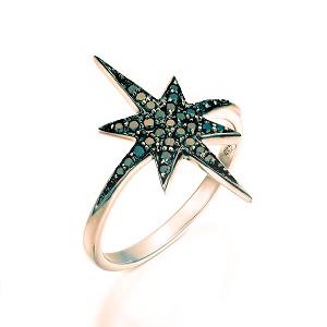 טבעת יהלומים שחורים זהב ורוד דגם כוכב הצפון טופ שחור