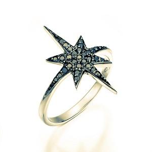 טבעת יהלומים שחורים זהב צהוב דגם כוכב הצפון טופ שחור