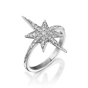 טבעת יהלומים דגם כוכב הצפון - זהב לבן