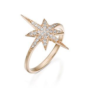 טבעת יהלומים דגם כוכב הצפון - זהב ורוד