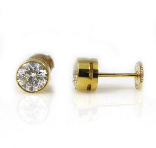 עגילי סטד יהלומים דגם סול - זהב צהוב